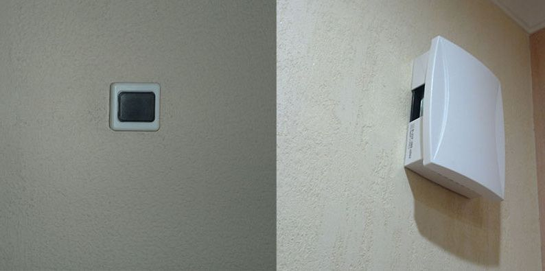 The installation of the doorbell button.