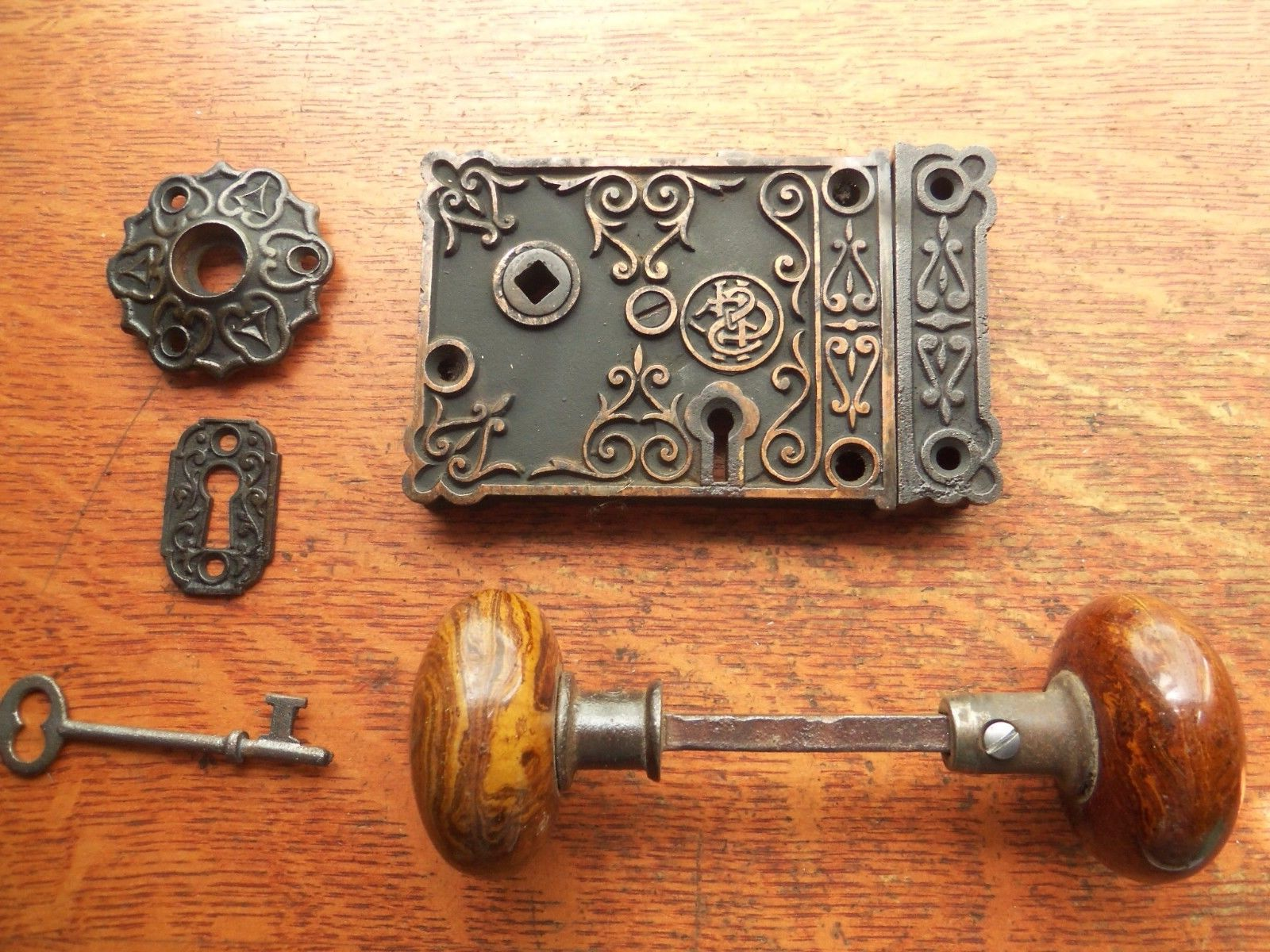 Vintage Brown mineral door knobs