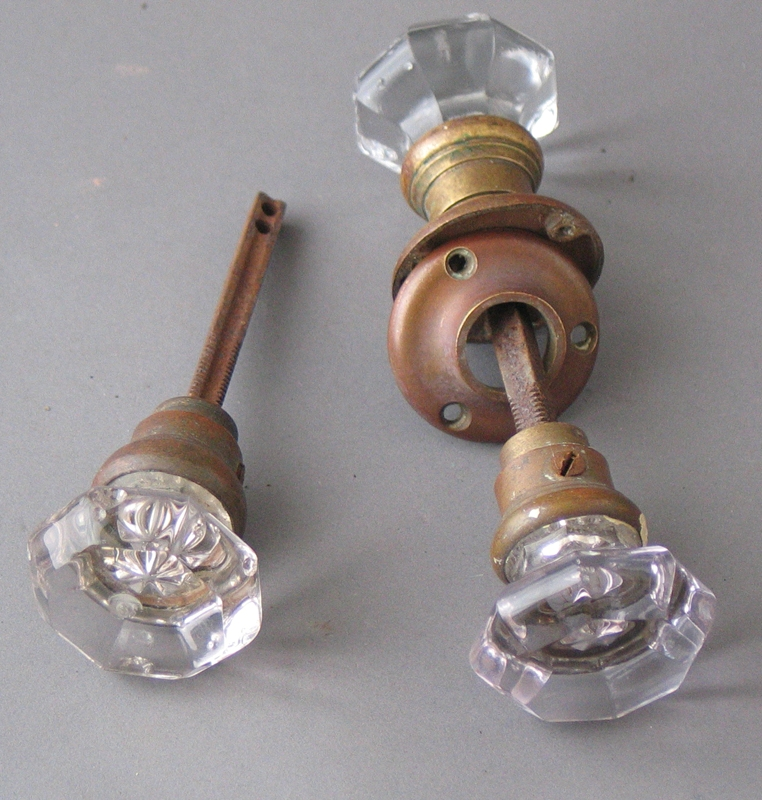 Vintage glass interior door knobs