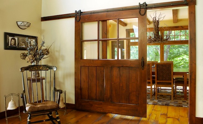 Vintage wooden sliding door
