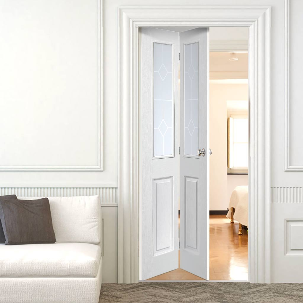 White interior doors with wood trim for Interior folding doors