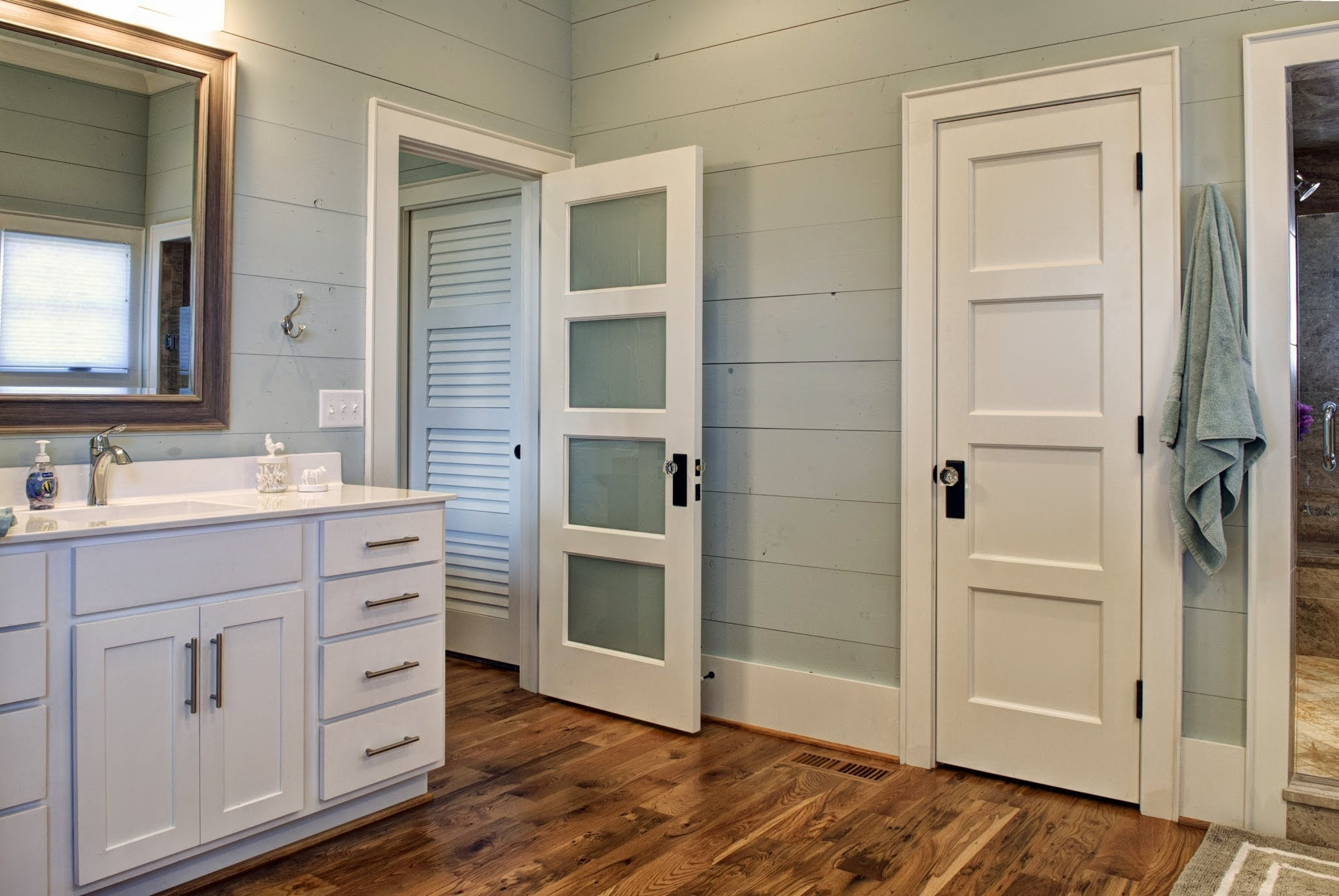 White interior doors with black handles