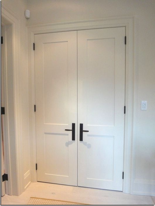 & White interior doors with black hardware photo