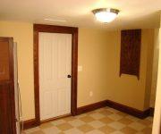 White interior doors with oak trim
