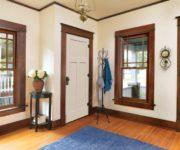 White interior doors with oak trim photo