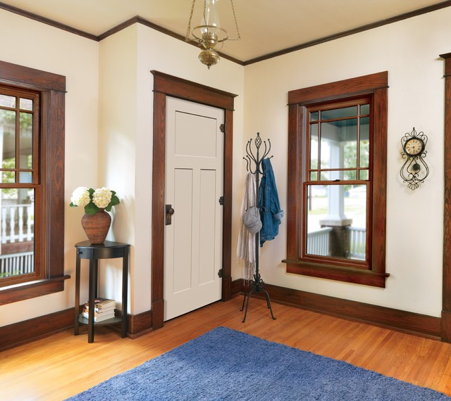 White interior doors with oak trim photo