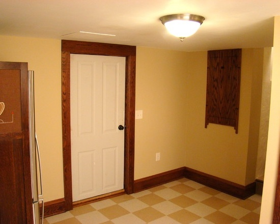 White interior doors with oak trim