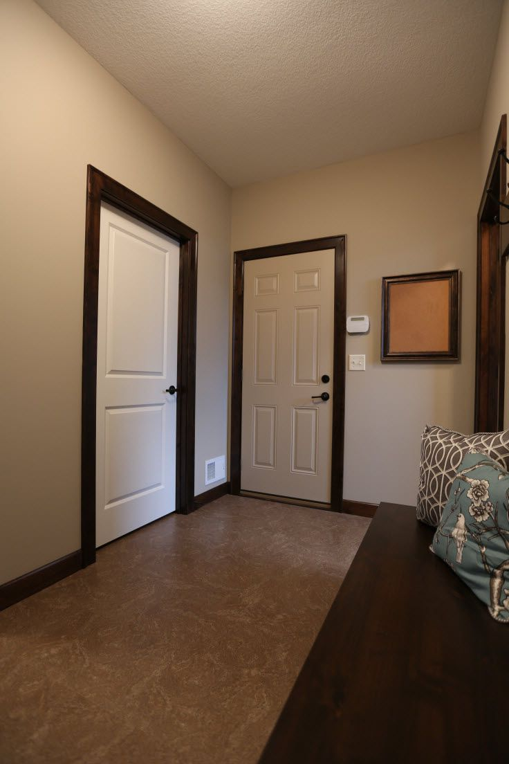 White interior doors with wood trim photo