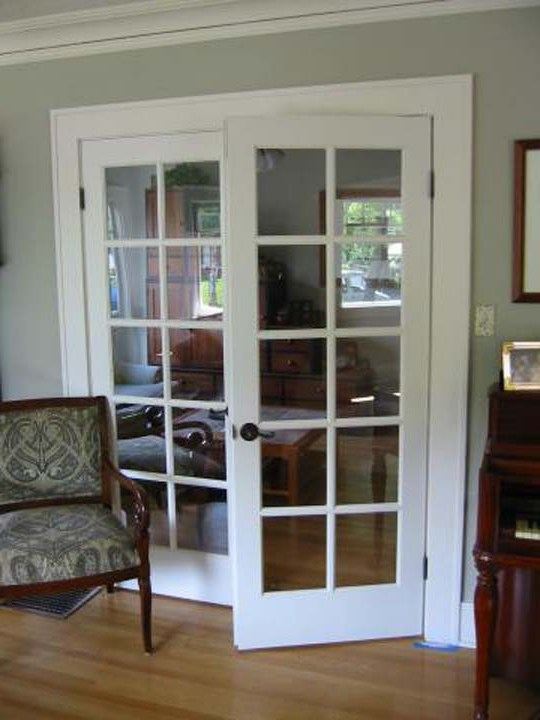 White interior french doors with glass photo for Glass french doors