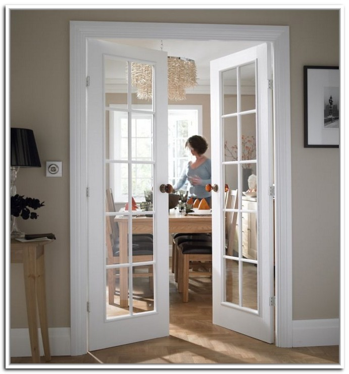 White interior french doors with glass photo for All glass french doors