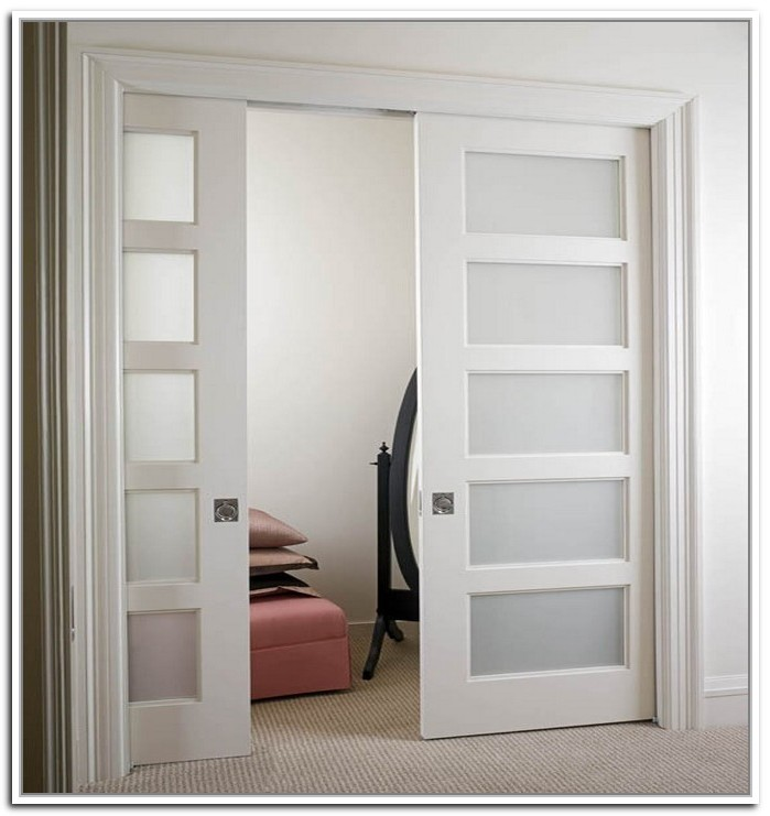 White sliding door with frosted glass