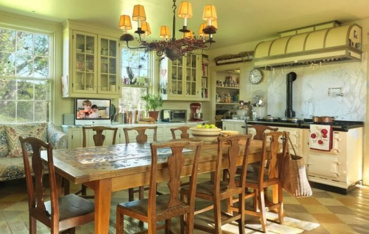 Ceiling lamps in vintage style and wooden furniture - Italian kitchen interior