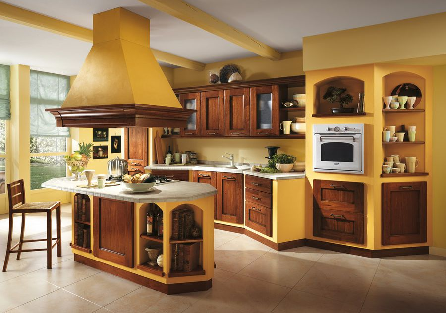Italian kitchen - orange and yellow colors in the interior decoration