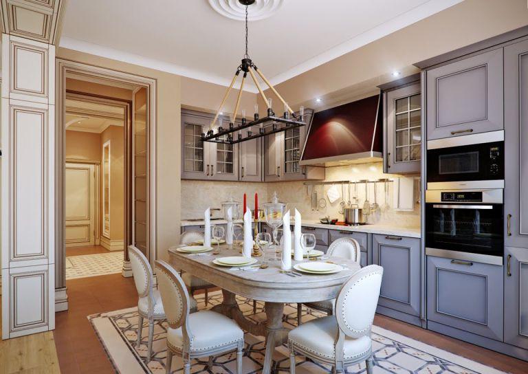 soft lateral illumination in the kitchen italian style, kitchen