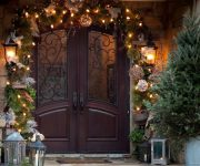New Year doors decoration - Garland - String Of Christmas Lights Stock