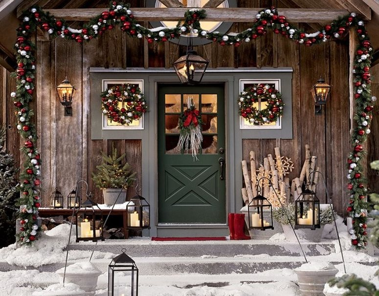 New year and Christmas wreath on the door - How to decorate a door for the new year and Christmas