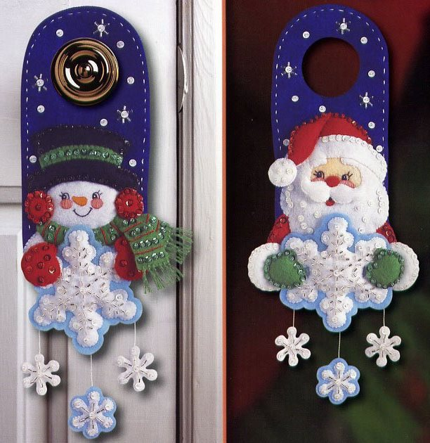 Santa Claus and Snowman is usual characters for door decoration