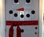 Snowman – decorating white door for Christmas and New Year