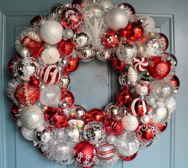 A Christmas wreath from Christmas balls looks very beautiful