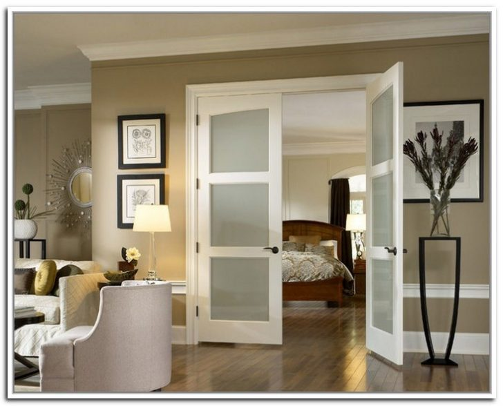 French doors with frosted glass for the bedroom 728x588 - Interior French Doors with glass