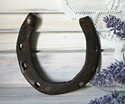Lucky horseshoe on wooden wall