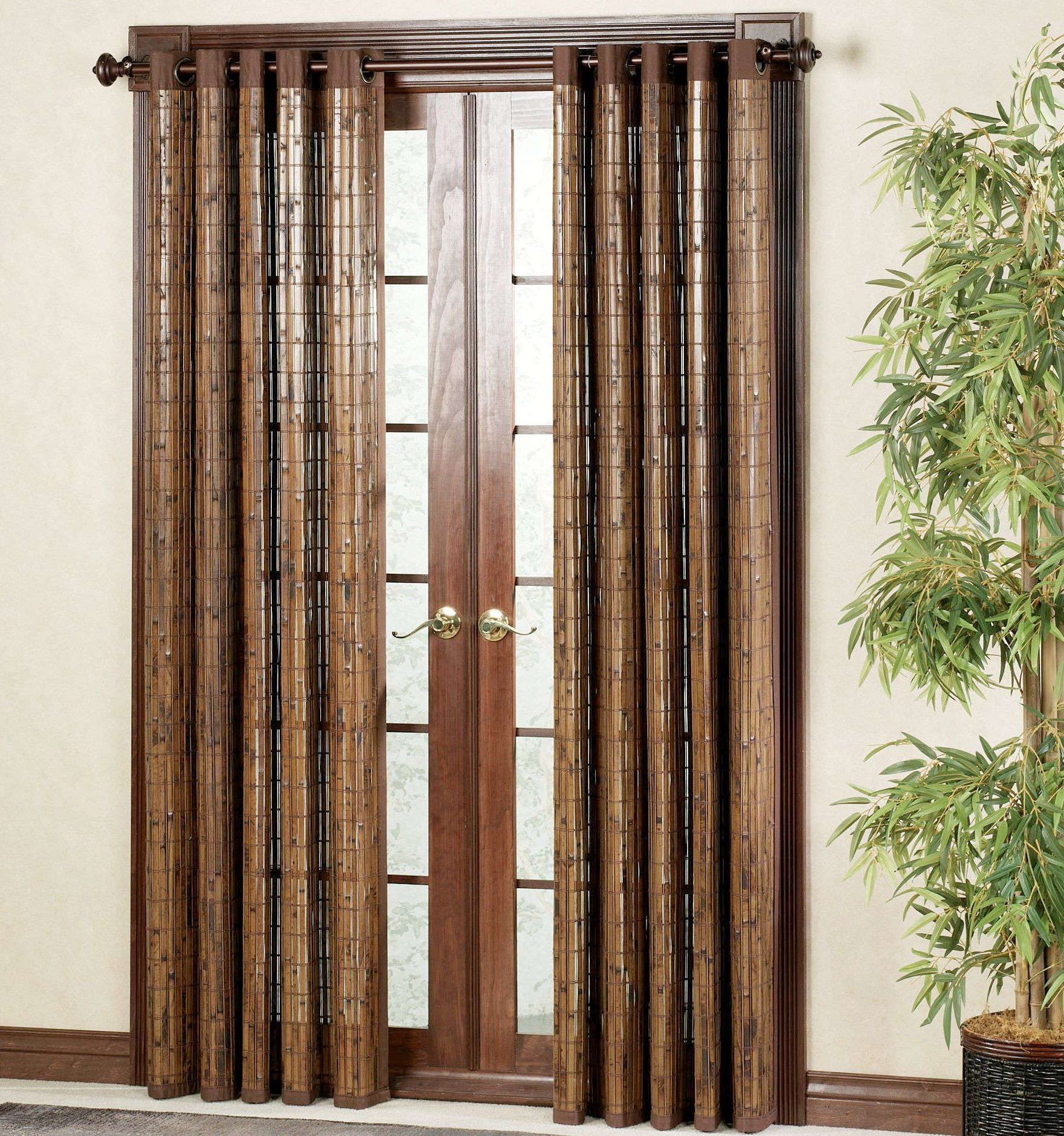 Sliding bamboo door curtains