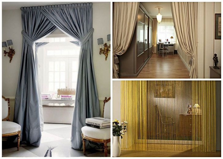 Variants for decorating a doorway using textile curtains