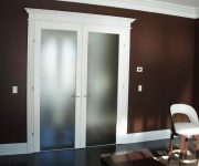 White interior french doors with frosted glass