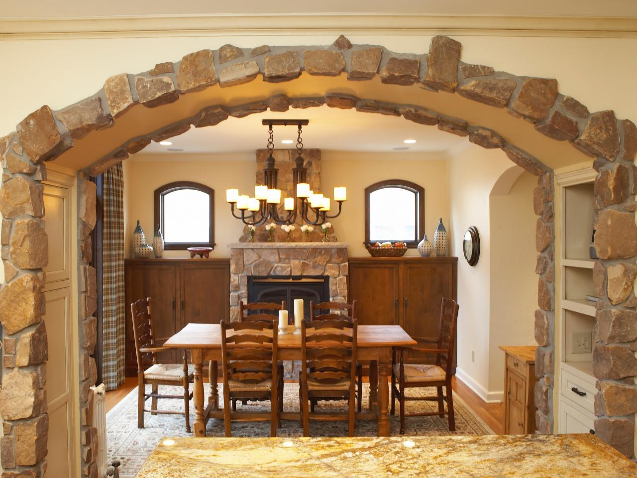 Kitchen stone arch ideas for Designs of arches in living room