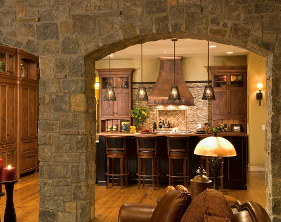 Interior stone archways