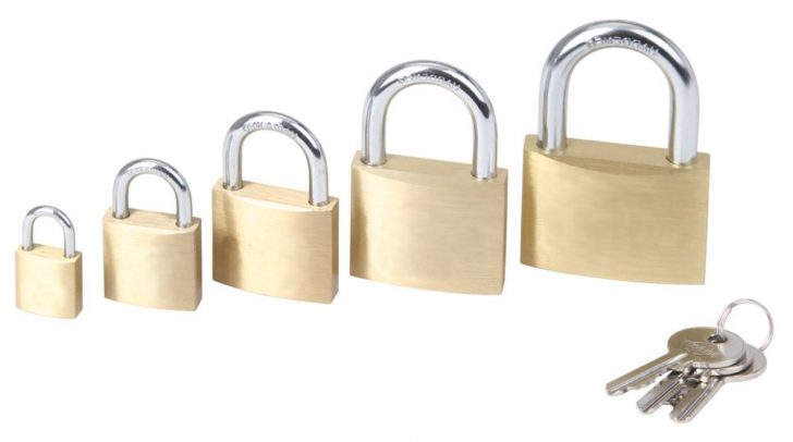 Modern brass padlocks