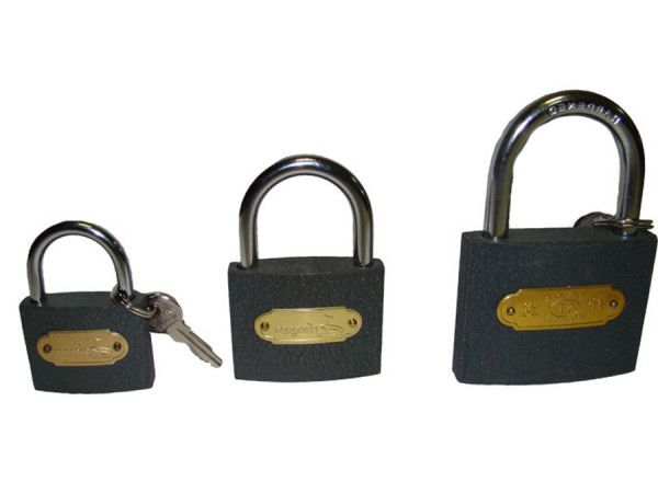 Small, medium and large padlock