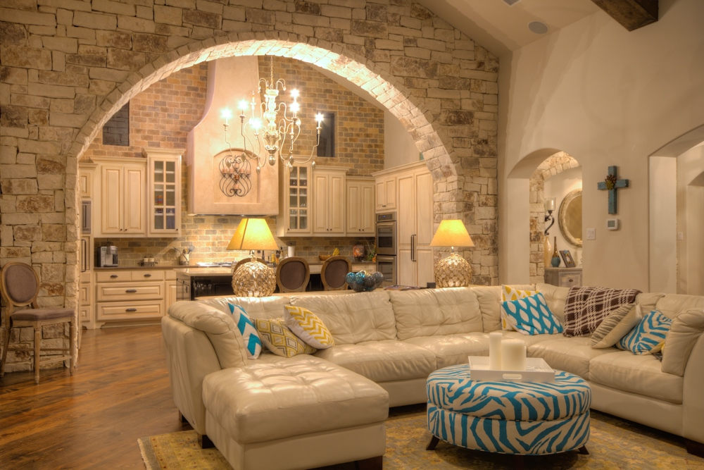 Stone Arch Into Kitchen