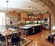 Stone arch in kitchen