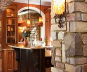 Stone archway in house