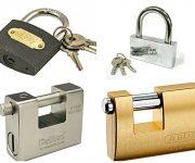 The padlocks material - aluminum, steel, iron and brass