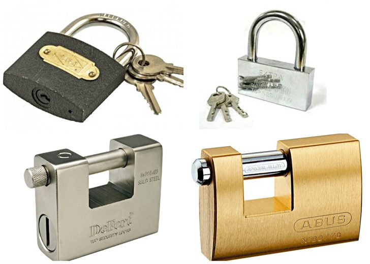 The padlocks material - aluminum, steel, iron and brass