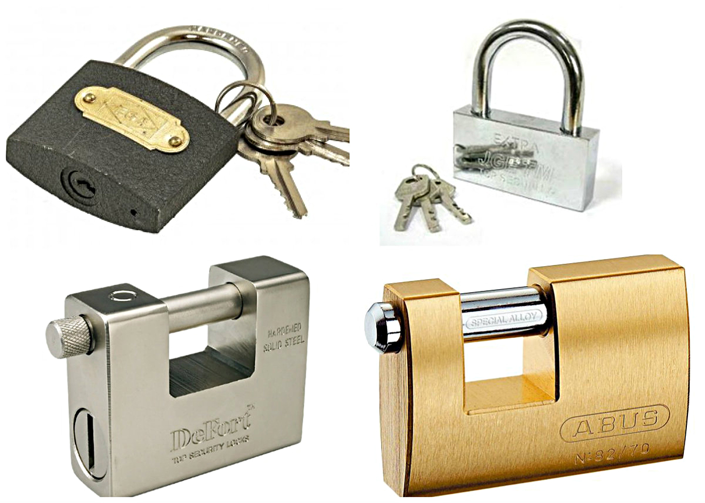 The padlocks material – aluminum, steel, iron and brass