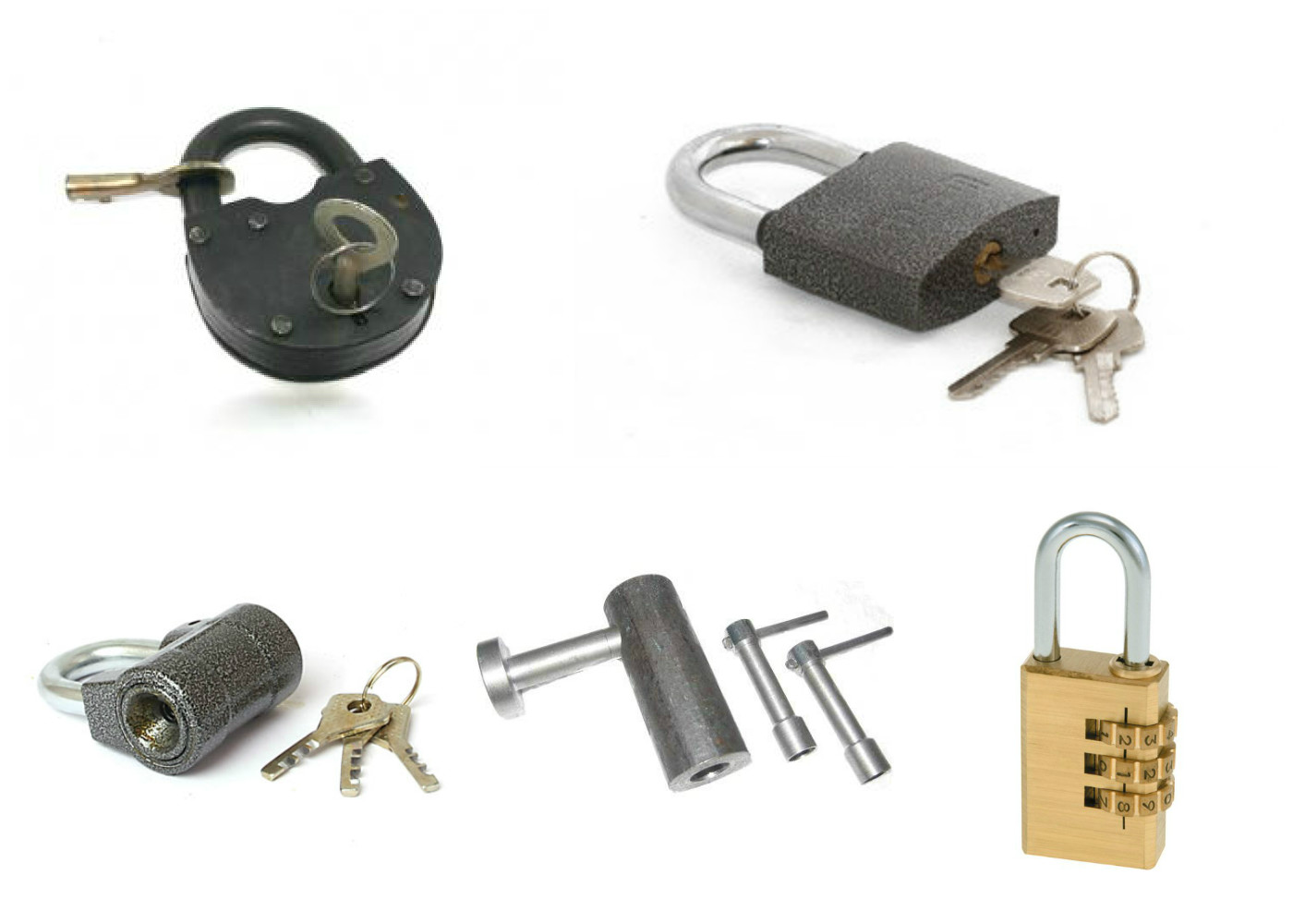 Types of padlocks according to the principle of operation of the locking mechanism
