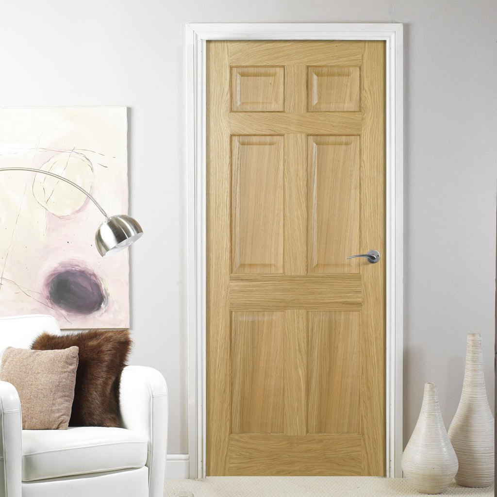 6 panel oak fire door