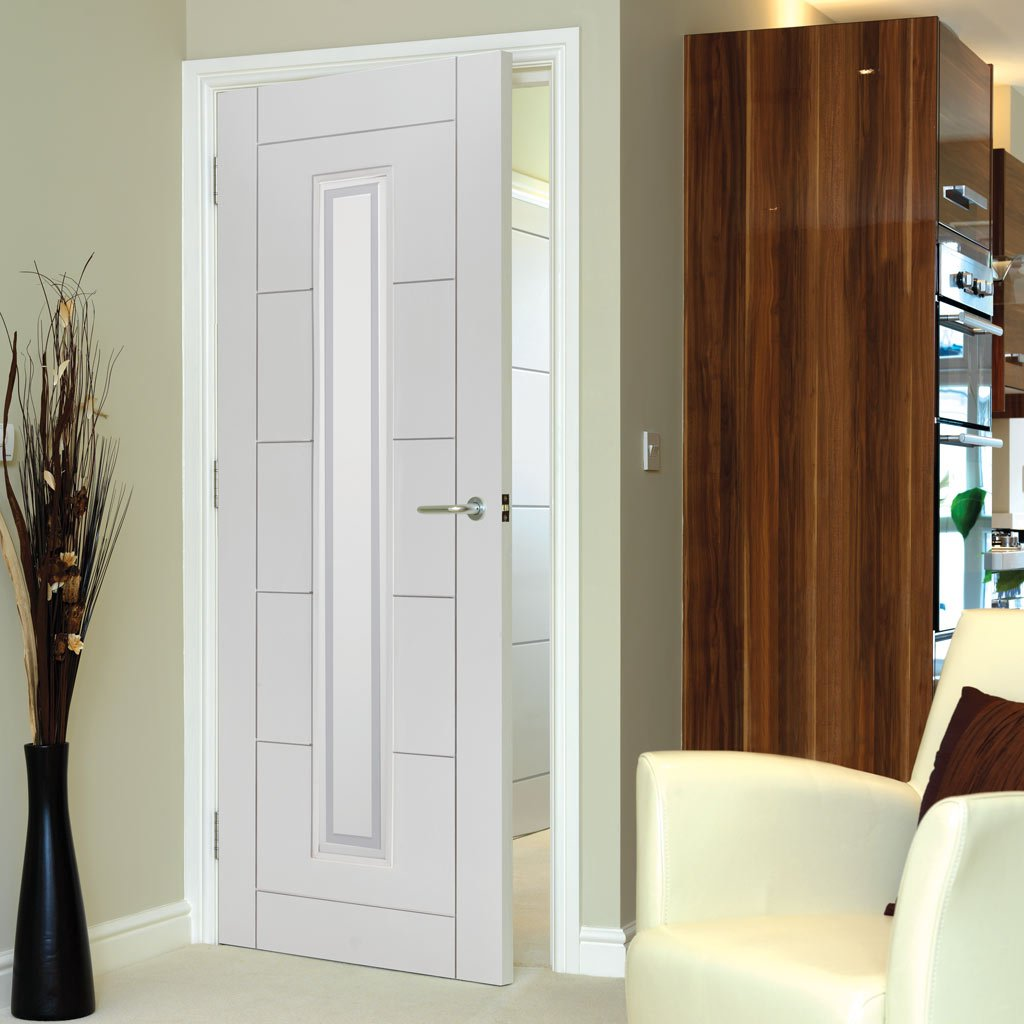 External fire doors with glass