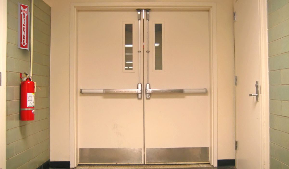 External fire exit doors