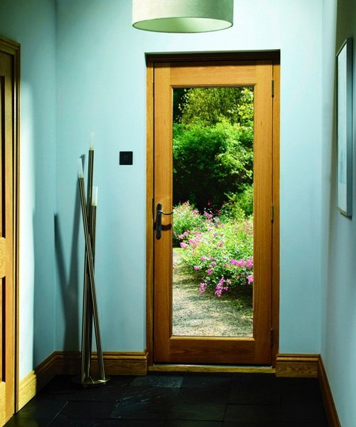 External wood glazed fire doors