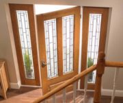 Fire rated wood external doors with glass