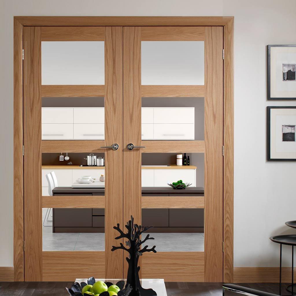 Internal oak fire doors with glass