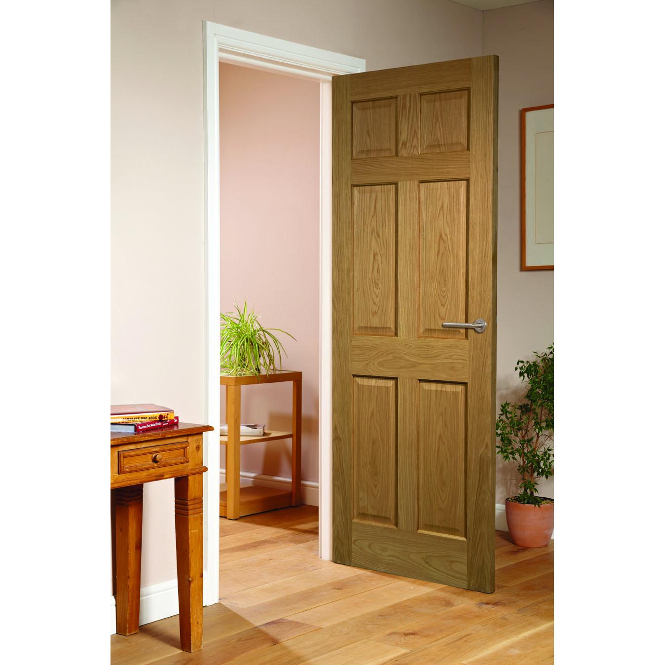 Modern 6 panel oak fire door