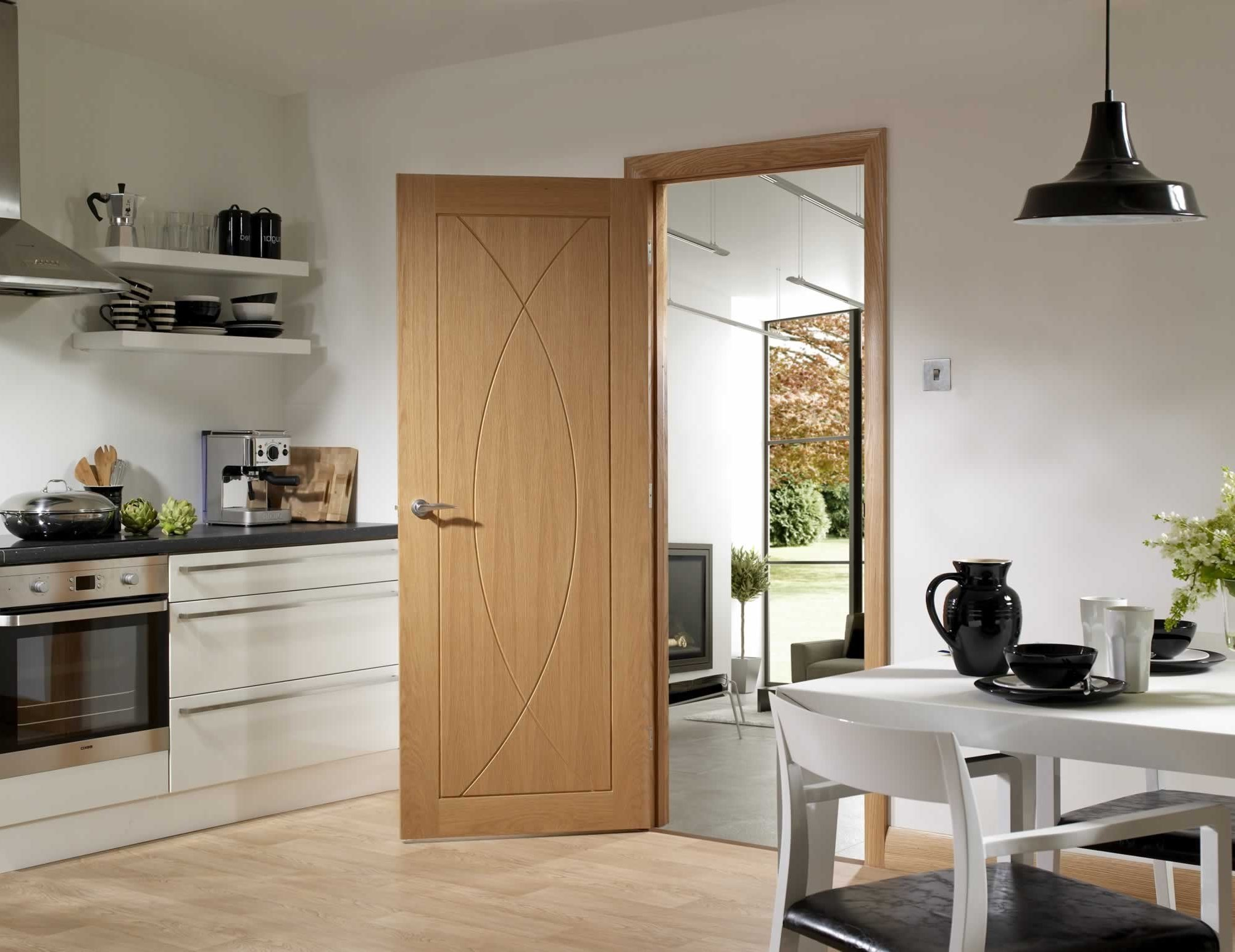 Oak fire doors internal in kitchen