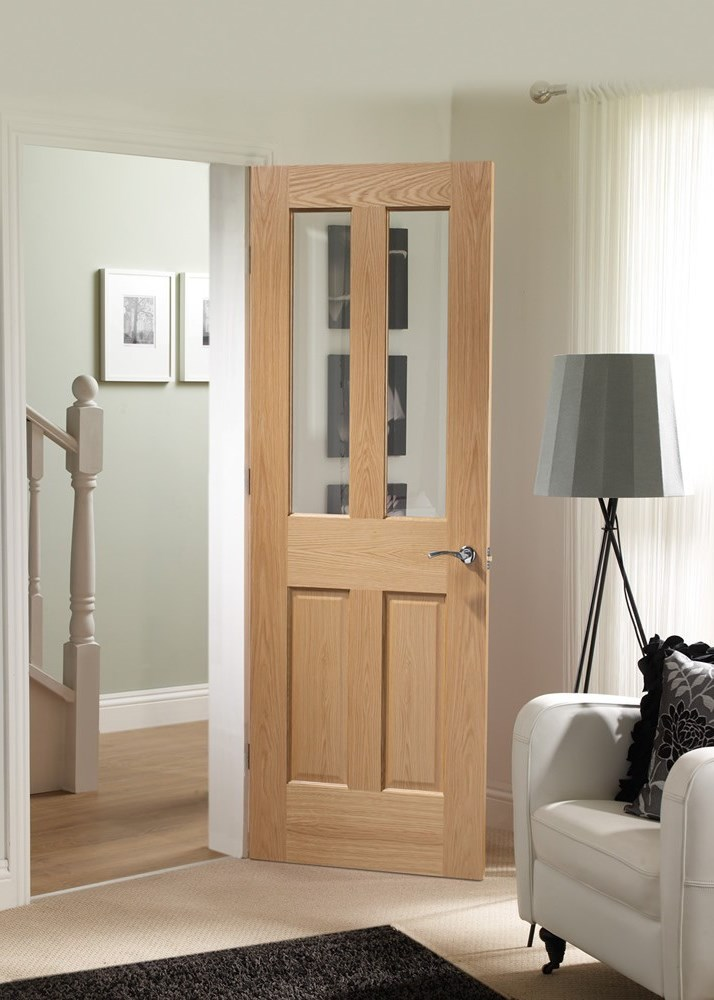Oak fire doors with glass