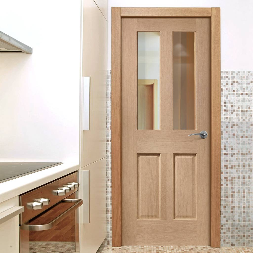 Oak glazed fire doors design in kitchen