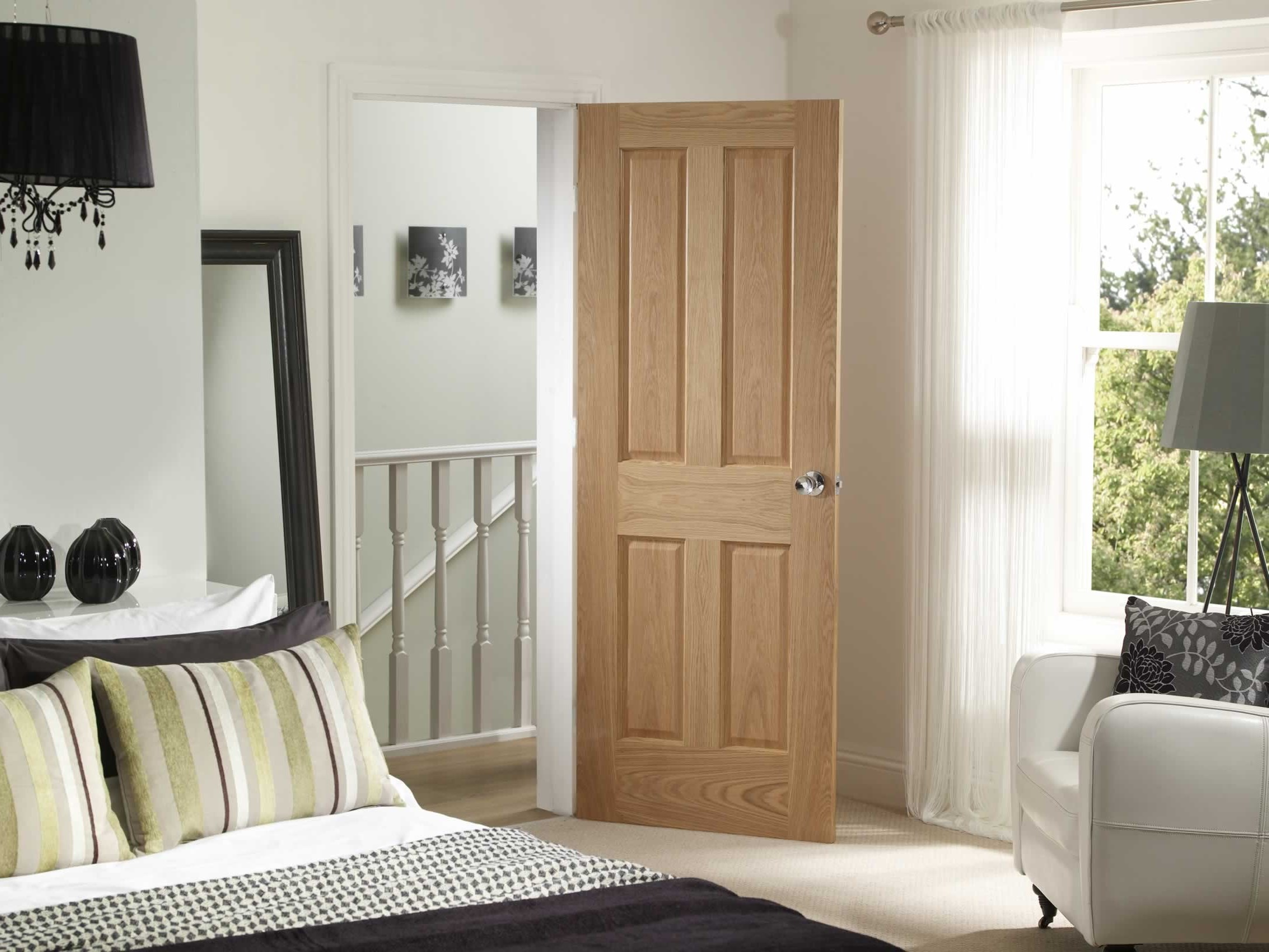 Oak internal fire doors in bedroom